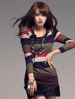 Women's Striped Blue/Orange/Purple/Gray T-shirt , Round Neck Long Sleeve