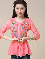 Women's Patchwork Pink/White Shirt , Round Neck ½ Length Sleeve Lace/Embroidery