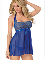 Women's Fashion Lace Ultra Sexy strapless Nightwear Blue