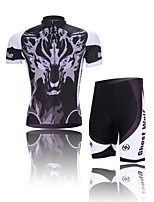 XINTOWN Ghost Wolf Unisex Short Sleeve Summer Cycling Suits Breathable/Quick Dry/Anatomic Design/3D Pad/Wicking Black