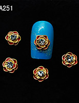 A251 DIY 10pcs/lot 3D New Jewelry Flowers Golden Nail Metal Alloy Rhinestones Nail Kits Nail Tools for Sexy Ladies
