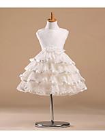 Flower Girl šaty - Satén/Tyl Bez rukávů - Princesové Délka po kolena