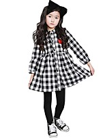 Kids Girls Fall Spring Casual Loose Hem Lapel Collar Single-breasted Plaid Dress (Cotton Blend)