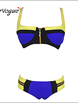 Burvogue Women's Zip Bandage Bikini Set Push-up Padded Bra Swimsuit Swimwear