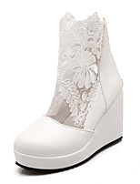 Women's Shoes Lace Wedge Heel Wedges/Fashion Boots/Round Toe Boots Dress Black/White