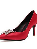 Women's Shoes Silk Stiletto Heel Heels/Pointed Toe/Closed Toe Pumps/Heels Casual Black/Red