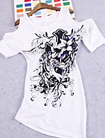 Women's Sexy Bodycon Casual Print Micro-elastic ½ Length Sleeve Long T-shirt (Cotton)