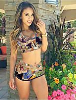 Women's Sexy Color Printing Two Piece Swimwear