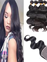 4Pcs Lot Brazilian Virgin Hair 3bundles Hair Weft With 1Pcs Free Part Lace Closure Natural Black Body Wave Hair