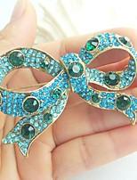 Women Accessories Gold-tone Turquoise Rhinestone Crystal Bowknot Brooch Art Deco Crystal Brooch Bouquet Women Jewelry