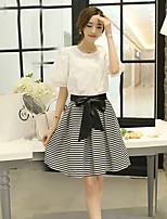 xiw&F Women's Casual/Party/Work Lantern Short Sleeve  Blouse And Fringe Skirt (Chiffon/Polyester)