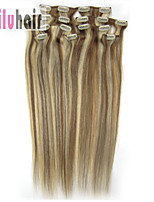 20inch (50cm) 8pcs 100 gram Clip in on Real Remy Human Hair Extensions Color #12/613