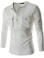 Men's Fashion Personalized Double Pocket Slim Long Sleeved T-Shirt