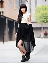 Women's Sexy Casual Cute Inelastic Thin Asymmetrical Skirts (Chiffon)