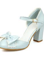 Women's Shoes Chunky Heel Heels/Round Toe Pumps/Heels Dress Blue/Pink/White