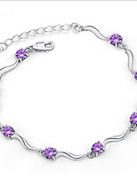 Women's Silver Chain With purple  Rhinestone/Cubic Zirconia Bracelet