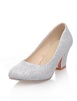 Women's Shoes  Kitten Heel Round Toe Pumps/Heels Outdoor/Office & Career/Casual Purple/Silver/Beige