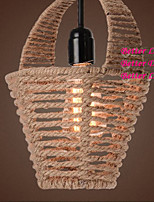 Vintage Rope Basket Pendant Light with One Light