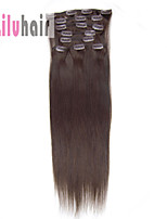 20inch (50cm) 8pcs 100 gram Clip in on Real Remy Human Hair Extensions Color #02 Dark Brown