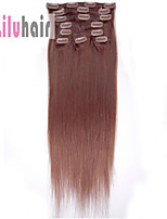 20inch (50cm) 8pcs 100 gram Clip in on Real Remy Human Hair Extensions Color #33 Dark Auburn