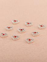 10PCS/Set Lovely Hollow Heart-Shape Diamond 3D Alloy Nail Art Decoration