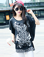 T-Shirt Da donna Rotonda Manica corta Misto cotone
