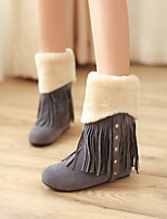 Women's Shoes Fleece Wedge Heel Fashion Boots/Round Toe Boots Dress/Casual Brown/Yellow/Gray/Beige