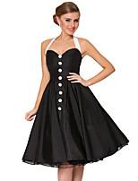 επάνοδος του 1950 vintage στυλ μαύρο Halterneck με λεπτή κλασικό φόρεμα