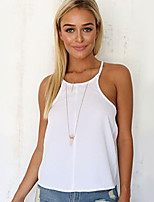 Women's Solid White Blouse , Strap Sleeveless Backless