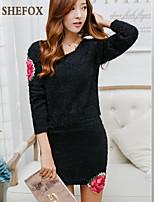 Women's Casual/Cute Stretchy Medium Long Sleeve Dress (Knitwear)SF7D26