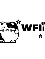 Wall Sticker Wall Decals, Lovely Fortune Cat Wifi PVC Wall Stickers
