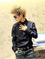 Men's Casual/Work/Formal Pure Short Sleeve Regular Shirt (Acrylic/Cotton Blend/Elastic/Lycra)