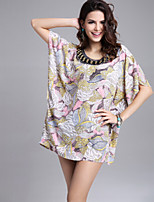 Women's Sexy Beach Casual Plus Sizes Print Blouse Chiffon Top