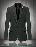 Men's Casual/Work/Formal Pure Long Sleeve Regular Blazer (Cotton)