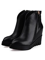 Chaussures Femme Cuir Talon Compensé Compensées/Bout Pointu Bottes Extérieure/Décontracté Noir
