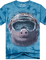 3D Printing Round Neck Short-sleeve Bandhnu Pig T-Shirt (Cotton)