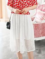 Women's Casual Micro-elastic Translucent Knee-length Skirts (Mesh)