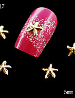 10pcs/lot 5mm Golden and Silver Star shaped 3D Alloy Nail Art Slices Glitters DIY Decorations