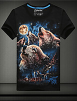 Tee-Shirt Décontracté/Grandes Tailles Pour des hommes Manches Courtes A Motifs Coton