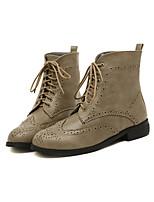 Zapatos de mujer - Tacón Plano - Botines / Punta Redonda - Botas - Exterior / Casual - Cuero Sintético - Negro / Marrón / Caqui