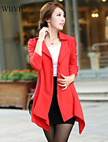 Women's Casual/Work/Plus Sizes Medium ½ Length Sleeve Long Trench Coat (Polyester)WP7D14