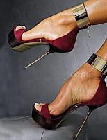 Chaussures Femme Satin Talon Aiguille Talons Sandales Bureau & Travail/Habillé/Décontracté/Soirée & Evénement Bordeaux
