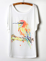 Women's Print/Character/Geometric White T-shirt , Round Neck Short Sleeve