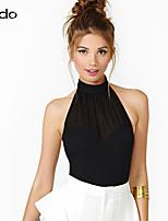 Women's Solid Multi-color T-shirt , Halter Sleeveless Zipper/Mesh/Backless
