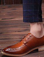 Men's Shoes Casual Leather Oxfords Black/Brown/Red