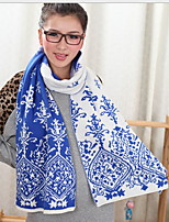 Blue And White Porcelain Jacquard KnittingTide Thickening More Warm Knitted Double-Sided Scarf