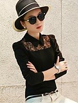 Women's Casual Micro-elastic Long Sleeve Regular Blouse (Polyester)