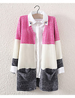 Women's Casual/Work Micro-elastic Medium Long Sleeve Cardigan