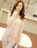 Women's Fashionable Round Lace Splicing Hollow Out Loose Pullover