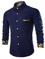 Men's Long Sleeve Shirt , Cotton Casual/Plus Sizes Pure